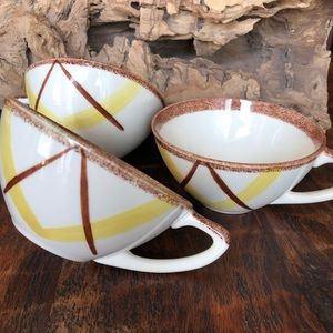 3 Mid Century Modern Tea Cups Yellow and Brown